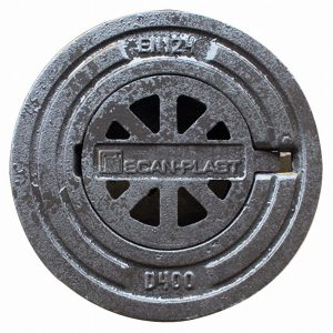 Støbejerns rist komplet flydende rund karm 40T . 200 mm
