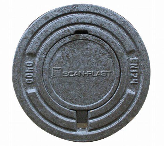 Støbejerns dæksel rund karm 40T . 200 mm