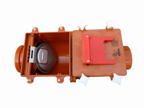 Højvandslukker åben med 2 klapper 110 mm