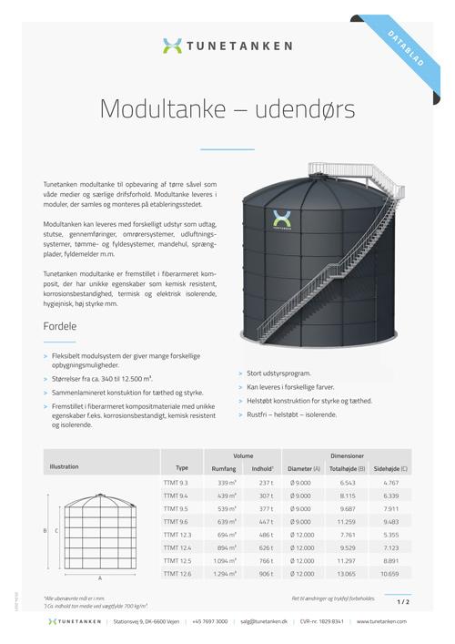 Udendørs modultanke - Datablad