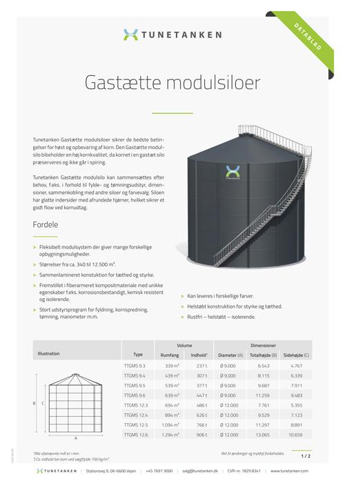 Gastætte modulsiloer - Datablad